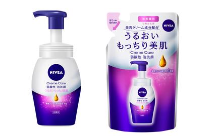 ニベア花王、美容クリーム成分配合の「ニベア クリームケア弱酸性泡洗顔」を発売